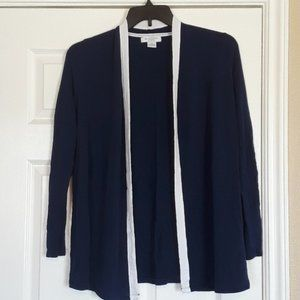Navy and White Long Sleeved Heavy Cardigan